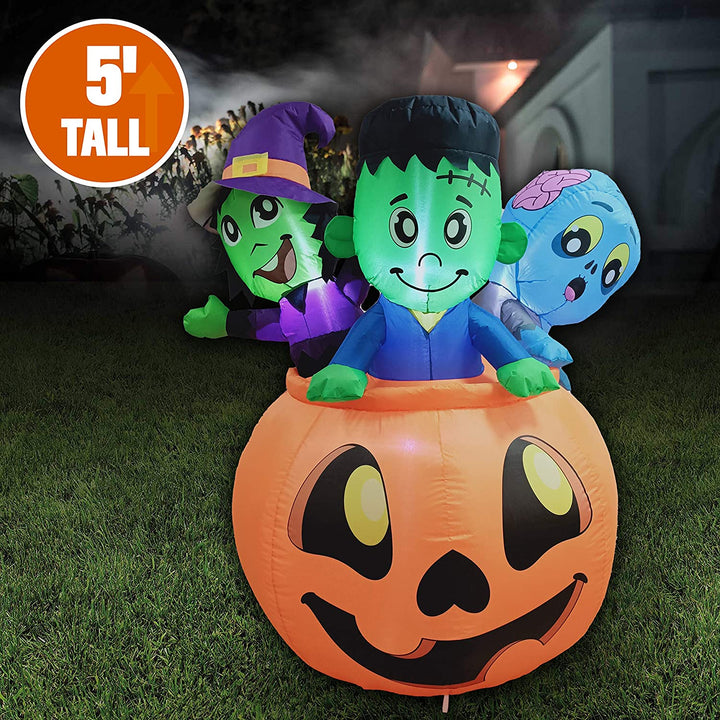 Tall Three Characters on Pumpkin Inflatable (5 ft)
