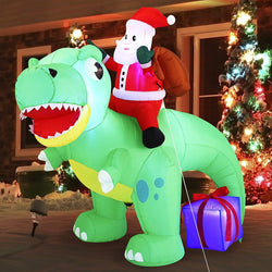 Large Santa Ride on Dinosaur Inflatable (6 ft)