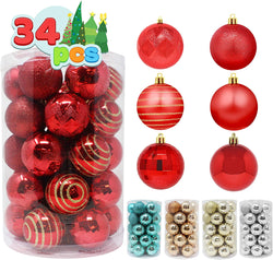 34 Pcs Christmas Ball Ornaments (Red)