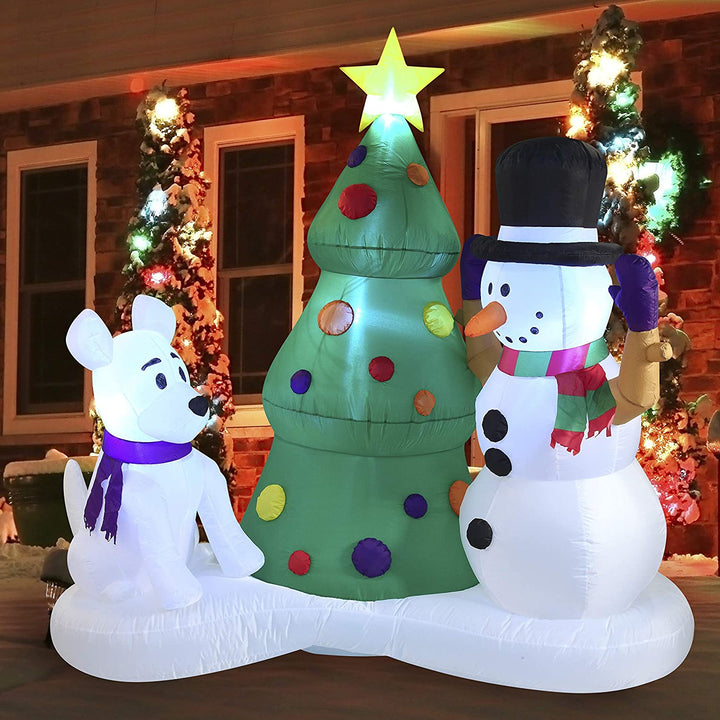 Large Snowman with Christmas Tree Inflatable (6 ft)