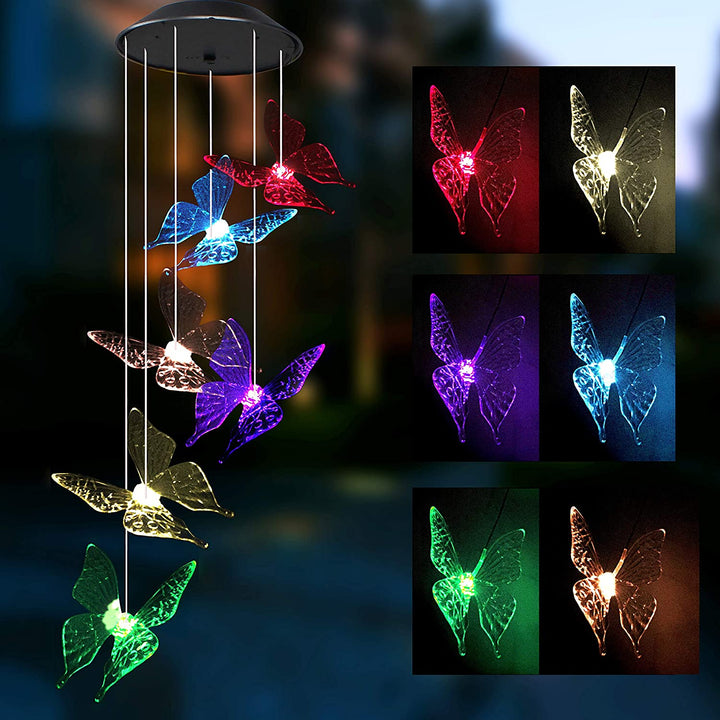 2 Packs Solar Butterfly Wind Chime