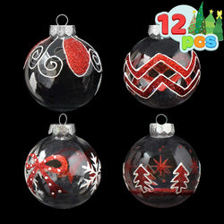 12 Pcs Christmas Ball Ornaments, Red and Clear