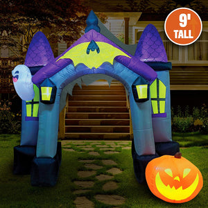 Jumbo Haunted House Archway Inflatable (9 ft)