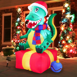 Large Dinosaur Sitting on a Gift Box Inflatable (6 ft)