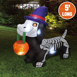 Tall Skeleton Wiener Dog Inflatable (5 ft)