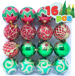 16 Pcs Red, Green and Gold Christmas Ornaments