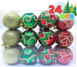 24 Pcs Red, Green and Gold Christmas Ornaments