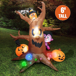 Large Scary Tree with Colorful Neon Light Mushrooms Inflatable (6 ft)