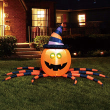 Load image into Gallery viewer, Large Pumpkin Spider Inflatable (7 ft)