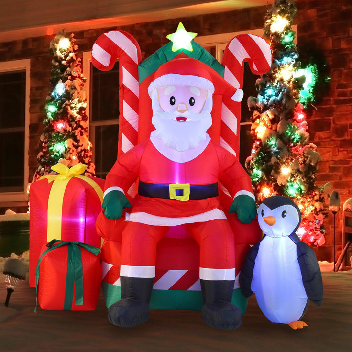 Large Santa Claus on Candy Throne Inflatable (6 ft)