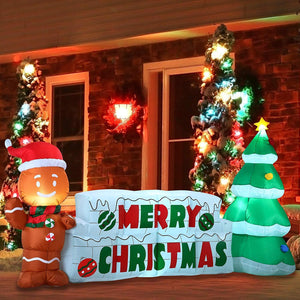 Giant Merry Christmas Sign with Tree & Gingerbread Man Inflatable (10 ft)