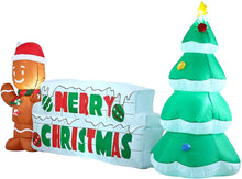 Load image into Gallery viewer, Giant Merry Christmas Sign with Tree & Gingerbread Man Inflatable (10 ft)