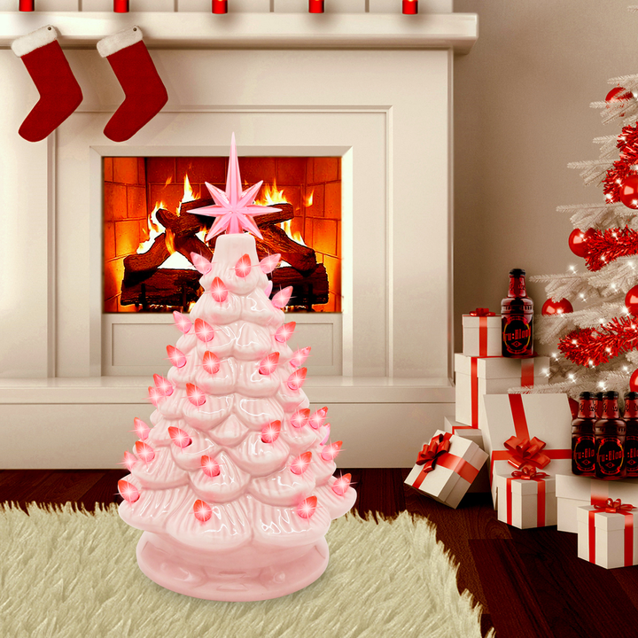 12 Inches Pink Ceramic Christmas Tree