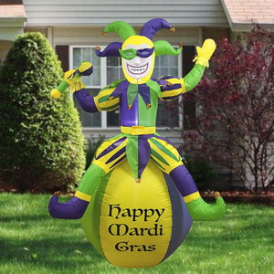 Large Jester On Ball Mardi Gras Inflatable (6ft)