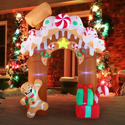 Giant Gingerbread House Archway Inflatable (10 ft)