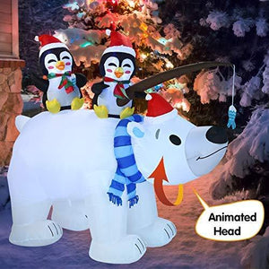 Large Holiday Animated Polar Bear Inflatable (6.5 ft)