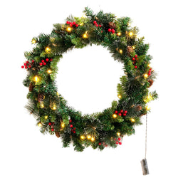 "24"" Prelit Battery Operated Christmas Wreath"