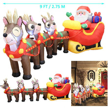 Load image into Gallery viewer, Giant Santa Claus on Sleigh with Three Reindeers Inflatable (9.5 ft)
