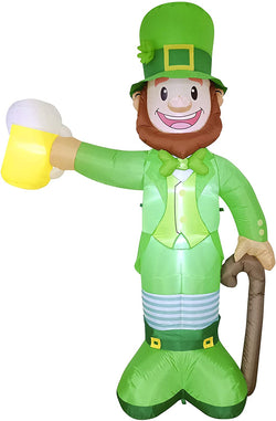 Jumbo St. Patrick's Day Standing Leprechaun Holding Bear Mug Inflatable (8 ft)