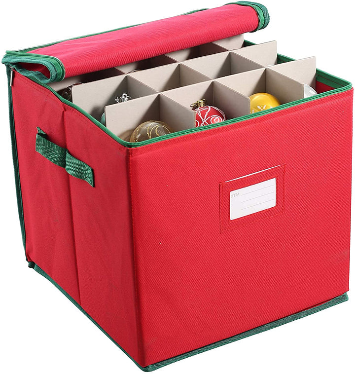 Christmas Ornament Storage Box with Adjustable Dividers
