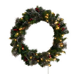 "24""Snow Flocked Prelit Christmas Wreath"