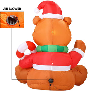 Tall Holiday Teddy Bear Inflatable (5 ft)