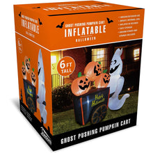Load image into Gallery viewer, Large Ghost Pushing Pumpkin Cart Inflatable (6 ft)