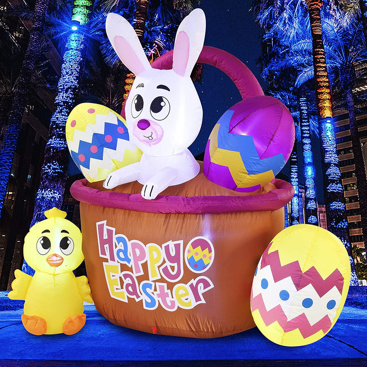 Large Easter Basket with Build-in LEDs Inflatable Outdoor Decoration (6ft)