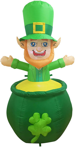 Large St. Patrick's Day Inflatable Leprechaun in Cauldron Pot of Gold Coin (6 ft)