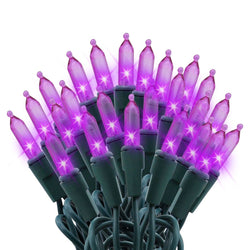 100-count Purple LED Green Wire Christmas Light