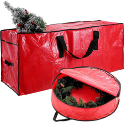"Red 48"" Christmas Tree and 30"" Wreath Storage"