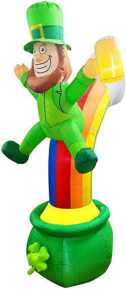 Large St Patrick Leprechaun on Rainbow Pot of Gold Inflatable (7 ft)