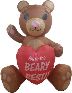 Large Teddy Bear with Heart Valentine Inflatable (6ft)
