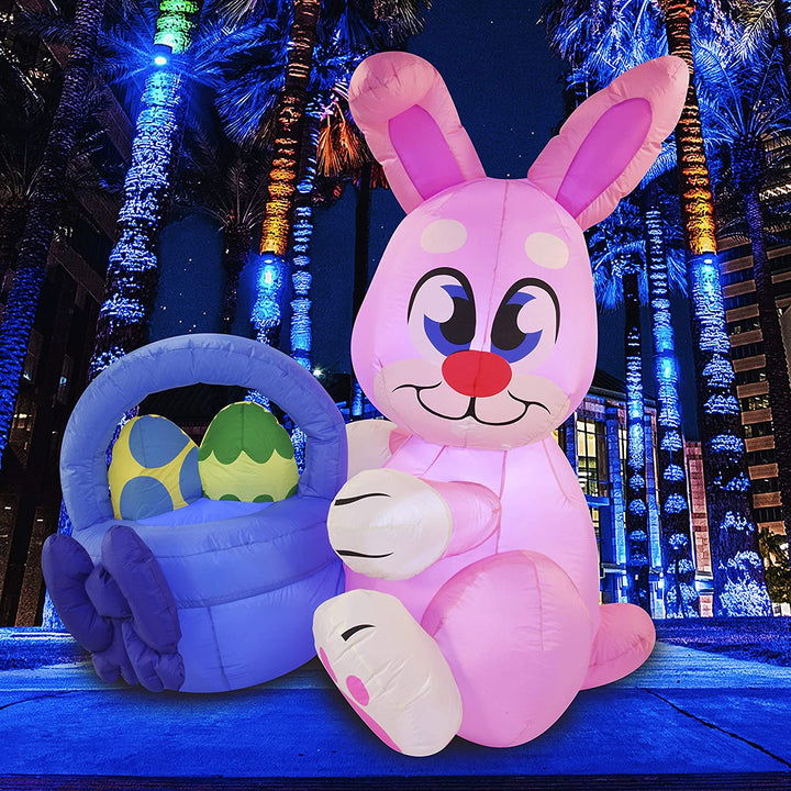 Large Easter Pink Bunny with Build-in LEDs Inflatable Outdoor Decorations (6ft)