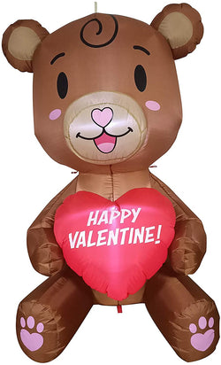 Tall Teddy Bear with Heart Valentine Inflatable (5ft)