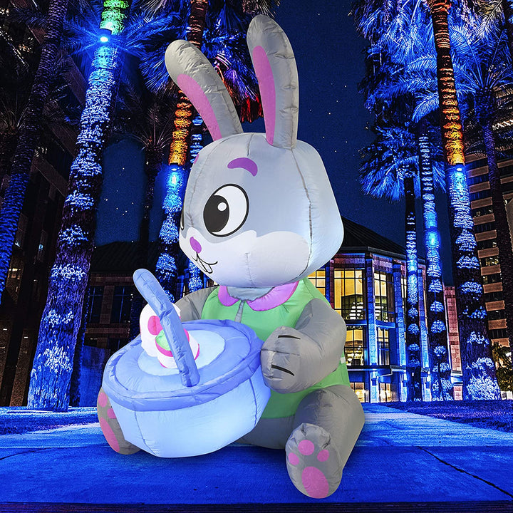 Tall Easter Bunny & Basket with Build-in LEDs Inflatable Outdoor Decorations (5ft)