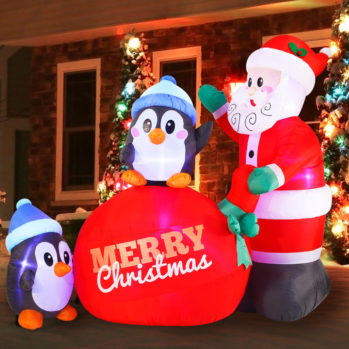 Large Penguins with Santa Inflatable (7 ft)