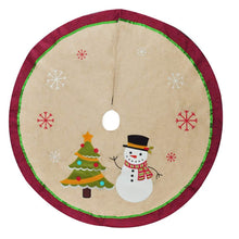 "Load image into Gallery viewer, 48"" Burlap Christmas Tree Skirt (Snowman Tree)"