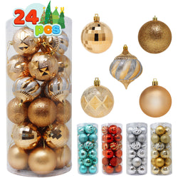 24 Pcs Christmas Ball Ornaments (Champagne)