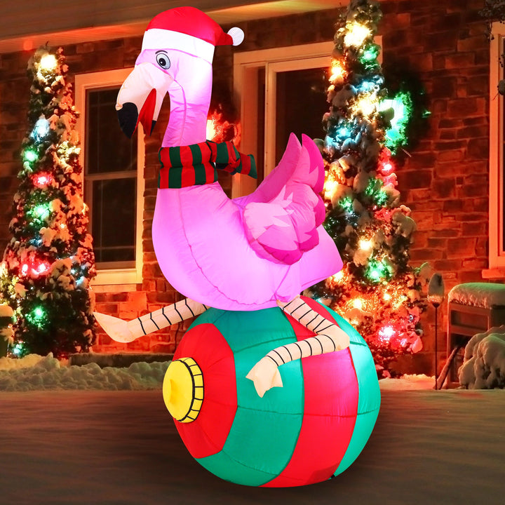 Large Flamingo on Ornament Inflatable (6 ft)