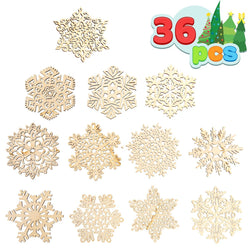 36 Pcs Wooden Snowflakes Hanging Ornaments