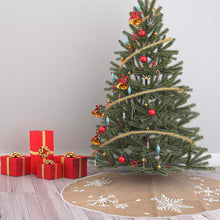 "Load image into Gallery viewer, 48"" Burlap Christmas Tree Skirt (Snowflake)"