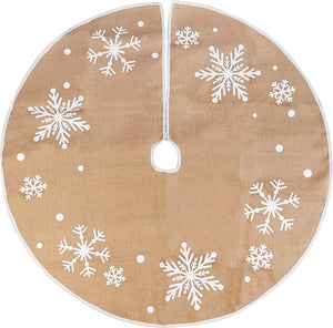 "48"" Burlap Christmas Tree Skirt (Snowflake)"