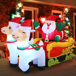Large Santa on Llama Sleigh Inflatable (6 ft)