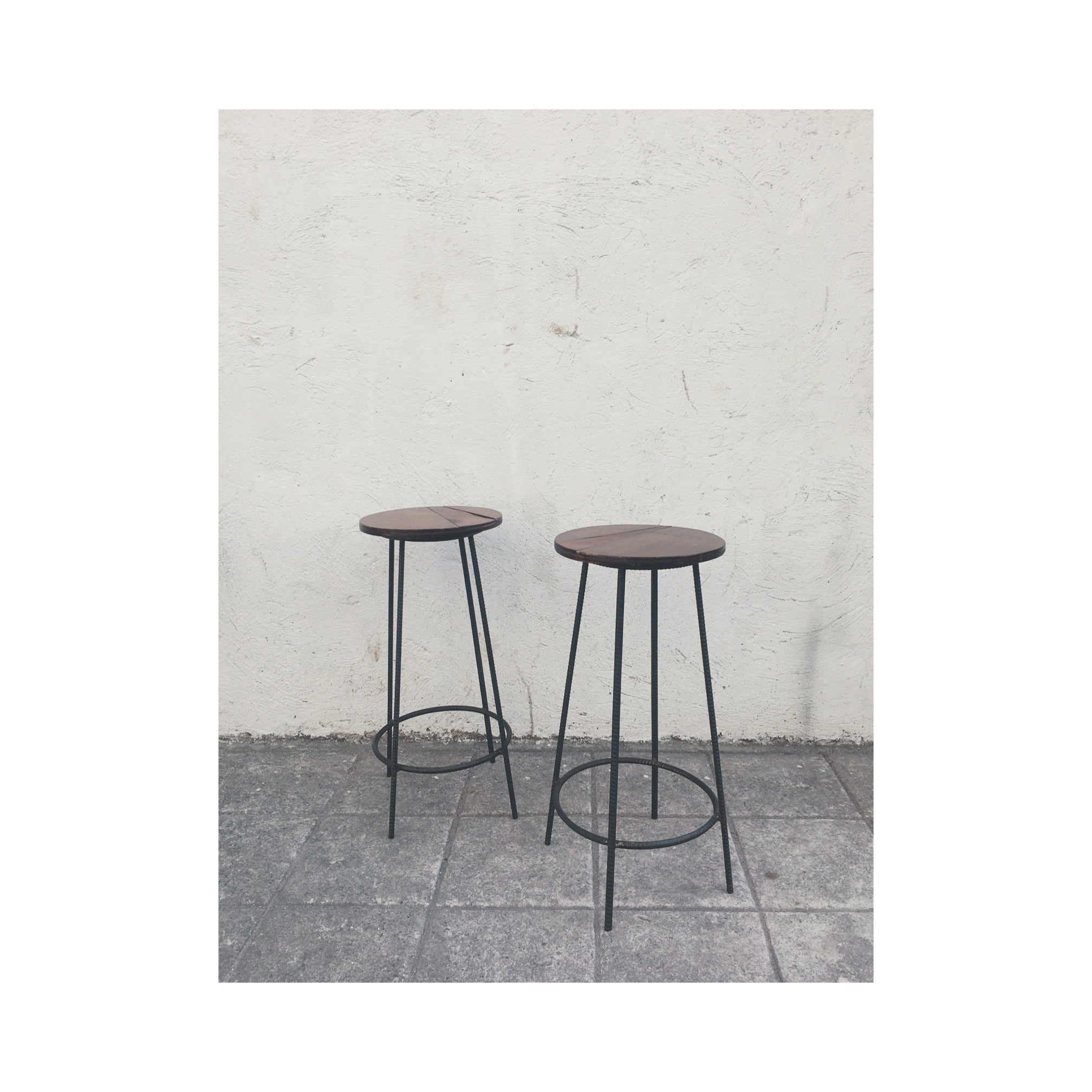 Rebar Barstool w/ Wood & Leather Accent