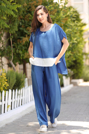 Women's Indigo T-shirt Pants Set