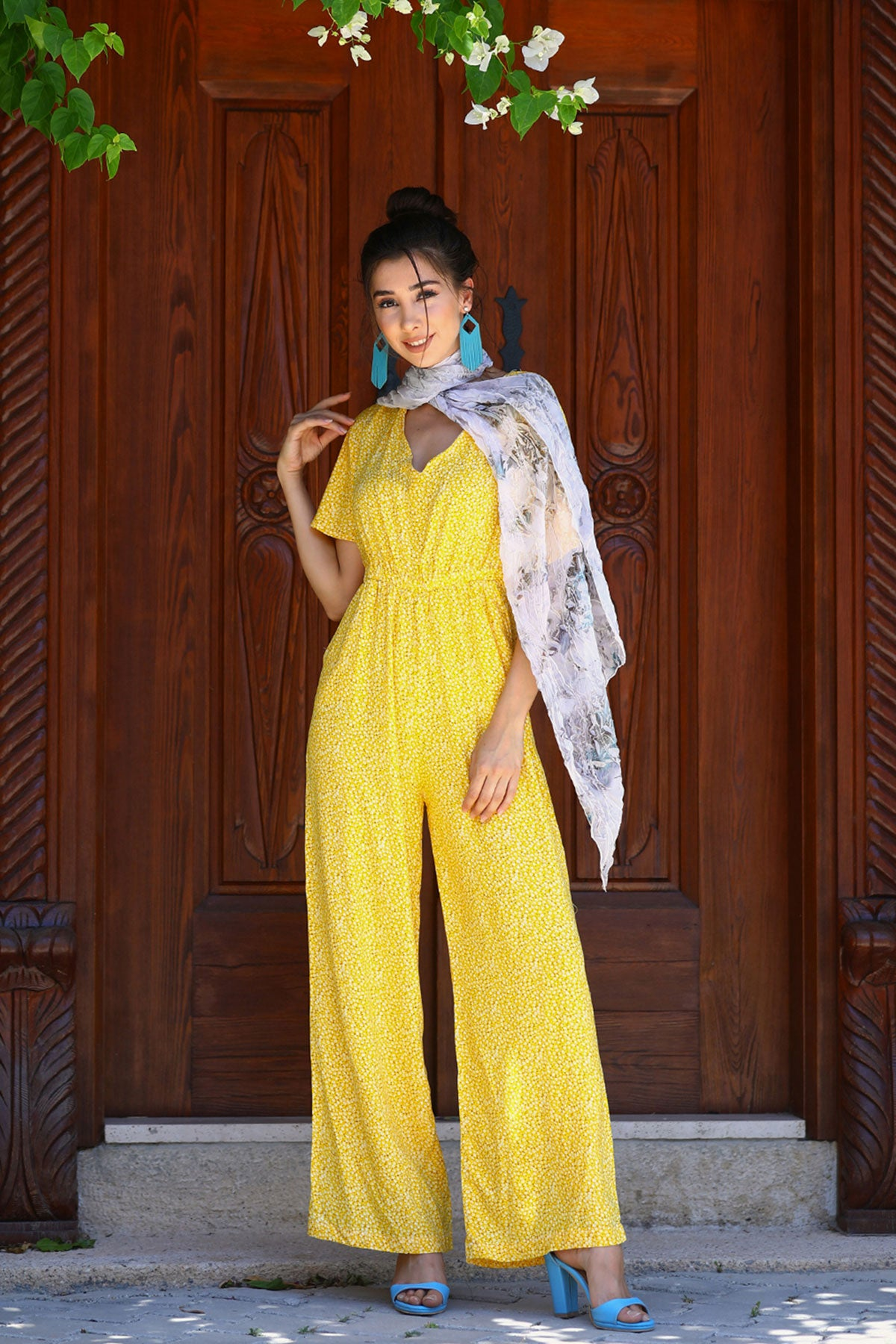 Women's Patterned Yellow Overall