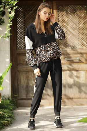 Women's Leopard Pattern Black Sweat Suit
