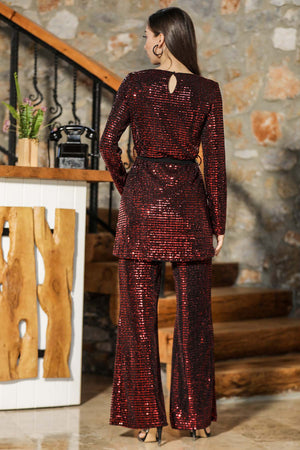 Women's Sequined Red Tunic Pants Set