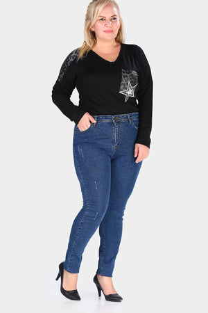Women's Oversize Navy Blue Jeans